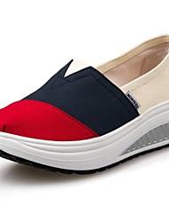 Zapatos de mujer - Tacón Cuña - Plataforma / Zapatos de Cuna - Mocasines - Exterior / Oficina y Trabajo / Casual - Tela - Azul / Rojo
