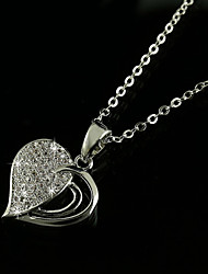 Gorgeous Women's Alloy with Clear Crystals Heart Shape Wedding Jewelry Cubic Zirconia Necklace (with Gift Box)
