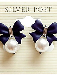 Korean version of The Import Sweet Diamond Bow Pearl Pendant Earrings