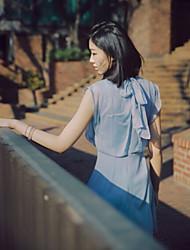 Damen Kleid  -  Rüsche Andere Rundhalsausschnitt