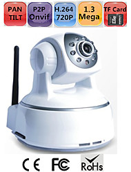 Pan Tilt HD IP Camera SD Card 1.3 Megapixels 720P H.264 P2P Onvif WIFI Remote Monitor