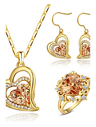T&C Women's 18k Yellow Gold Plated Champagne Gold Simulated Diamond Heart Pendant Necklace Earrings Ring Set