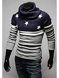 Men's High-Neck Sweaters , Cotton Blend Long Sleeve Casual Hollow Out Winter / Fall HI MAN