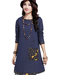 Lady Fall Women Cusual Loose Round Neck Dot Joint Thincken Dress Clothes