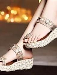 Chinelos ( Borracha , Dourado ) Sapatos de Senhora - Salto Plataforma - 3-6cm
