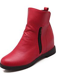 Women's Boots Spring Fall Winter Comfort PU Office & Career Casual Athletic Low Heel Hook & Loop Zipper Black Yellow Red WhiteHiking