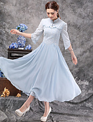 Women's Going out Vintage Swing Dress,Solid Stand Midi ½ Length Sleeve Others Summer