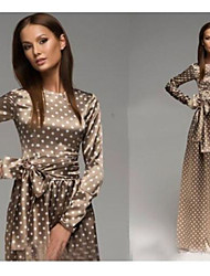 Speed sold through the new 2015 spring and autumn wear long sleeved dress wave point dress