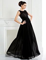 A-line Plus Sizes / Petite Mother of the Bride Dress - Black Floor-length Sleeveless Chiffon / Lace