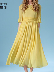 Women's Solid/Patchwork Yellow Dress , Vintage Round Neck ½ Length Sleeve