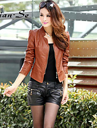 Women's fashion pu leather big yards of coat OUTW11