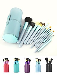 12PCS Blue Cosmetic Set Eyeshadow Wood Brush Blusher Blue Holder Make Up Brushes Estojo De Maquiagem Pinceis
