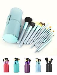 12pcs blaue Lidschatten Kosmetik-Set Holz Pinsel Rouge blau Halter bilden Pinsel estojo de maquiagem pinceis