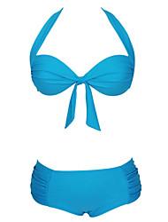 Women's Lilac Halter Top Padded High-Waist Bikini