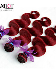 "4 Pcs 12""-30"" Peruvian Body Wave Red Remy Human Hair Weave Wavy Bundles Virgin Hair Wefts Burgundy Wine  Tangle Free"