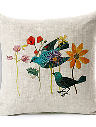Country Flowers & Birds Patterned Cotton/Linen Decorative Pillow Cover