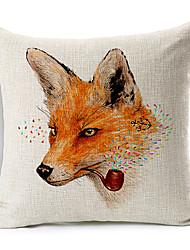 desenhos animados fumar raposa algodão / linho capa de travesseiro decorativo