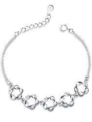 Jazlyn Authentic Platinum Plated 925 Sterling Silver Woman Hollow Flower Link Chain Bracelet