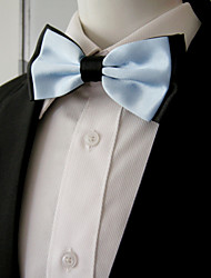 Men's Black Light Blue Solid Pre-tied Ajustable SilkBlend Wedding Dress SilkBlend Bow Tie
