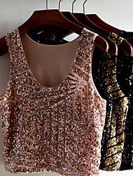 deckard Women's Casual Round Sleeveless Tops & Blouses (Cotton Blend)