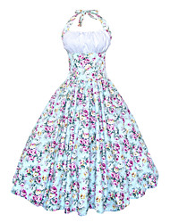 Maggie Tang Women's Halter 50s Vintage Floral Pinup Housewife Rockabilly Swing Dress 509
