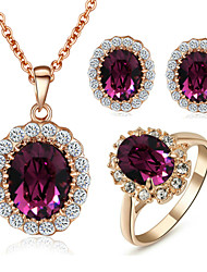 T&C Women's Elegant Cz Diamond Jewelry 18K Rose Gold Pated Amethyst Purple Crystal Pendants Necklaces Earrings Ring Sets
