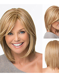 Bob hair cuts Synthetic wigs Short Straight Blonde wigs for women Full wigs with bangs