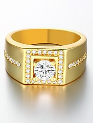 Anéis Pedras dos signos Casamento / Pesta / Diário / Casual / Esportes Jóias Chapeado Dourado Feminino / Masculino Anéis Grossos 1pç,8 /