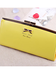 Korean Version of The Cute Bow Clip-mouth Lady Wallet Long Section of The Wallet Card -bit Package Tide Bag Wholesale