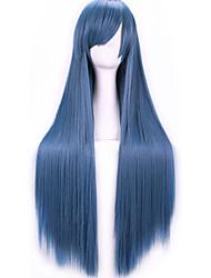 Lattichanimeperücke bunten Perücken der Rauch blauen langen geraden Haar Perücke 80 cm