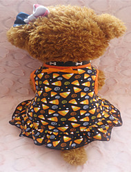 Dog Dress Yellow Summer Geometic / Bowknot