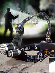 Boruit RJ-3000 Outdoor 3-LED 1800lm 4-Mode White Light Waterproof Zooming Headlamp - Black + Multi-Color