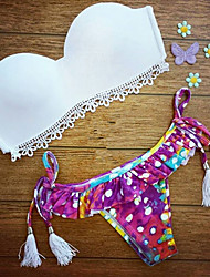 Damen Bikinis - Floral Push-Up Elasthan / Spitze Bandeau