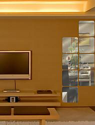 6pcs quadrangular em forma de espelho de parede adesivos DIY arte decalques (16 * 16 centímetros)