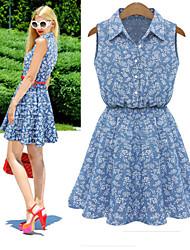 Tracy Women's Print Tailored Collar Sleeveless Dresses (Cotton/Denim)