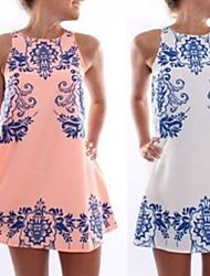 Women's Round Dresses , Chiffon Casual/Party Sleeveless Koro