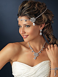 Headpieces Clear Crystals Wedding Bridal Tiara  Alloy Crystal Pearl Crown Bridal Hair Accessories