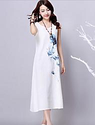 Women's White Dress , Casual Sleeveless