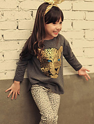 Girl's  Fashion Leisure Long Sleeve Sexy Leopard Cotton Clothing Sets