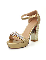 Women's Shoes  Chunky Heel Peep Toe Sandals Dress with Rhinestone More Colors Available