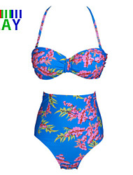 Mulheres Biquíni Cintura-Alta/Floral Nadador Push-Up Nylon/Poliéster Mulheres