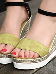 Women's Shoes Wedge Heel Open Toe Sandals Dress Black/Green/Red/Gray