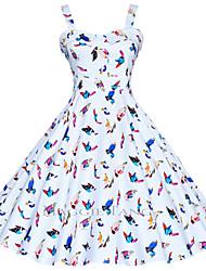 Mulheres Vestido Evasê Plus Sizes / Vintage / Festa / Trabalho / Casual Floral / Geométrica / Estampado Altura dos JoelhosCom Alças /