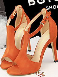 Women's Shoes Black/Green/Grey/Orange/Camel Stiletto Heel 3in-3 3/4in Pumps/Heels (Velvet)