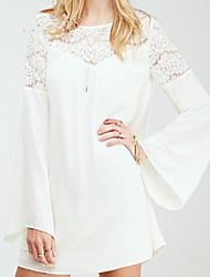 Women's Casual Round Long Sleeve Dresses (Chiffon/Lace)