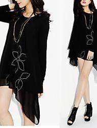 Women's Round Dresses , Chiffon Beach/Casual/Cute/Party Long Sleeve ANWENXI