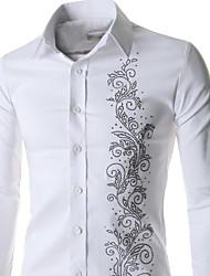 Men's Casual/Work/Formal Pure Long Sleeve Regular Shirt (Acrylic/Cotton Blend/Lycra)