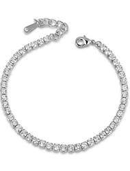 HKTC Crystal Wedding Jewelry 18K White Gold Palted Rhinestones Swiss Cubic Zirconia Chain Tennis Bracelet