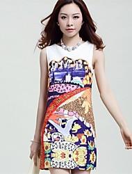 Women's Print White Dress , Print Crew Neck Sleeveless
