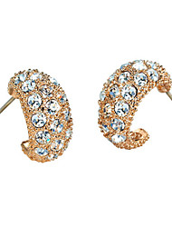 HKTC Elegant Arc-shaped Crystal Stud Earrings 18k Rose Gold Plated Fashion Party Jewelry